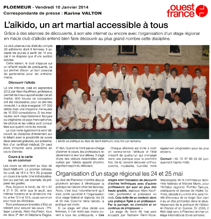 article ouest france 10-01-2014