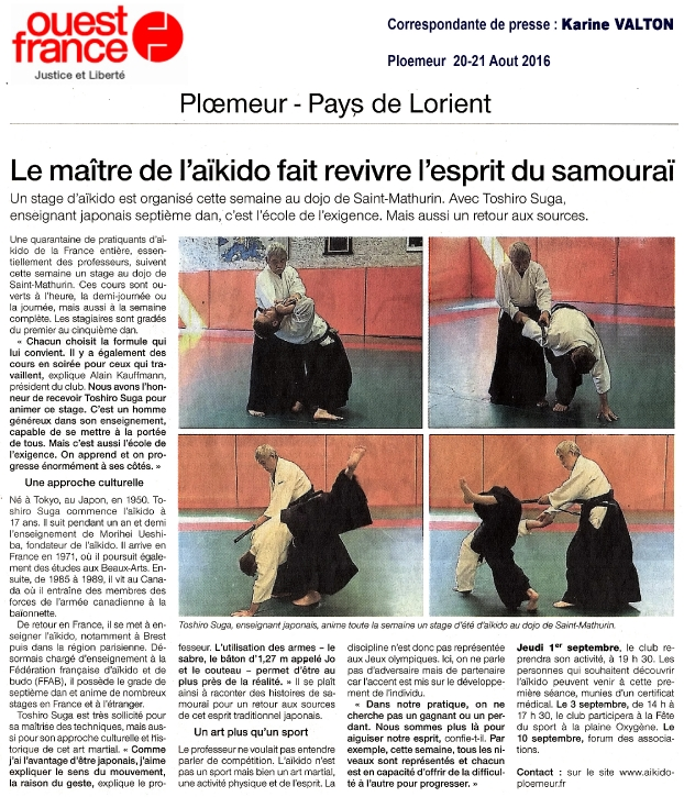 Ouest France 20 Aout 2016 - Stage Toshiro SUGA Ploemeur